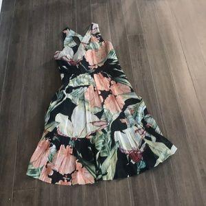 Ann Taylor floral crisscross back dress